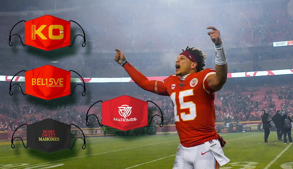 Ready to Ship Cloth Face Mask KC Mahomes, KC Chiefs, Sports Face Masks, Washable, Reusable, Fashion Adult & Children Masks, Full Coverage!