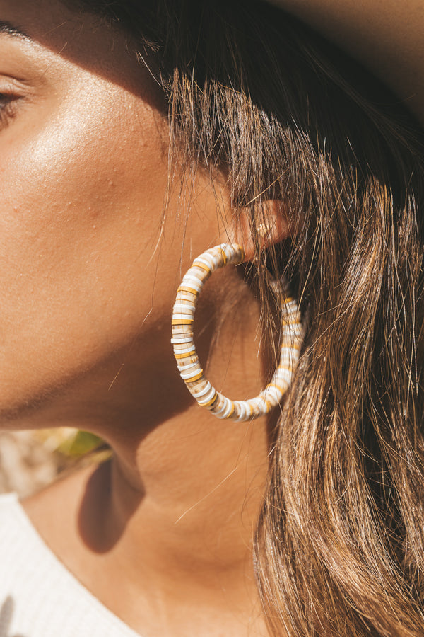 Dunes Multi-Colored Beaded Hoop Earrings