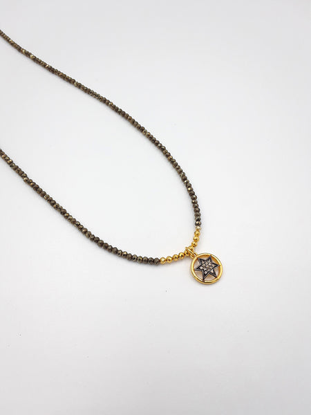 NE 2058 Pave Diamonds Star, 14k Goldfilled
