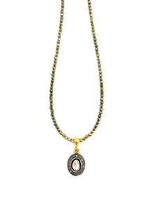 Rose cut Diamond and Pave Diamonds, Pyrite Chain NE 2052