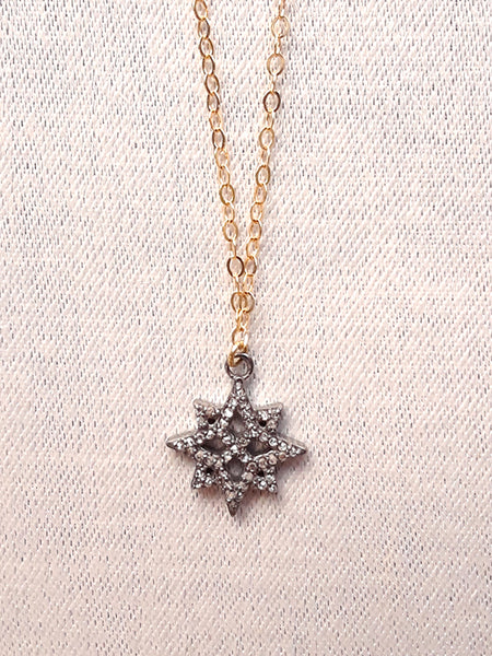 NE 1992 A Pave Diamonds Star, 14k Goldfilled Chain