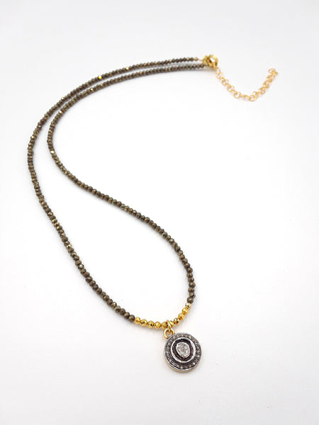 NE 2053 Rose Cut diamond and Pave Diamonds on Pyrite Chain