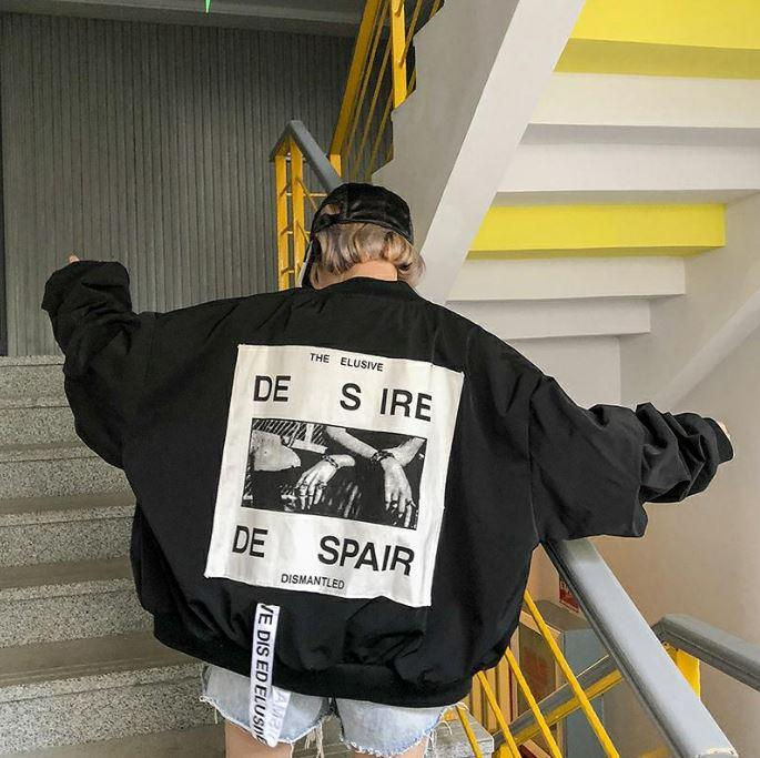DESIRE DESPAIR LOOSE BOMBER JACKET