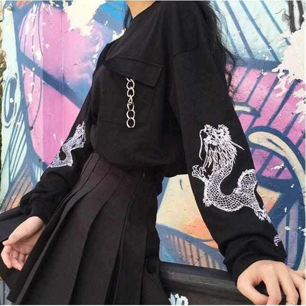 KOREAN STREET FASHION IMPERIAL DRAGON SWEATER