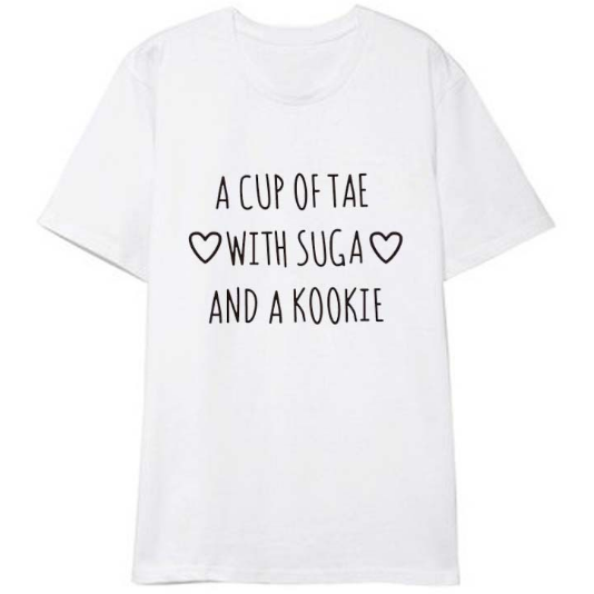 BTS BANGTAN BOYS A CUP OF TAE WITH SUGA AND A COOKIE KOSZULKA T-SHIRT