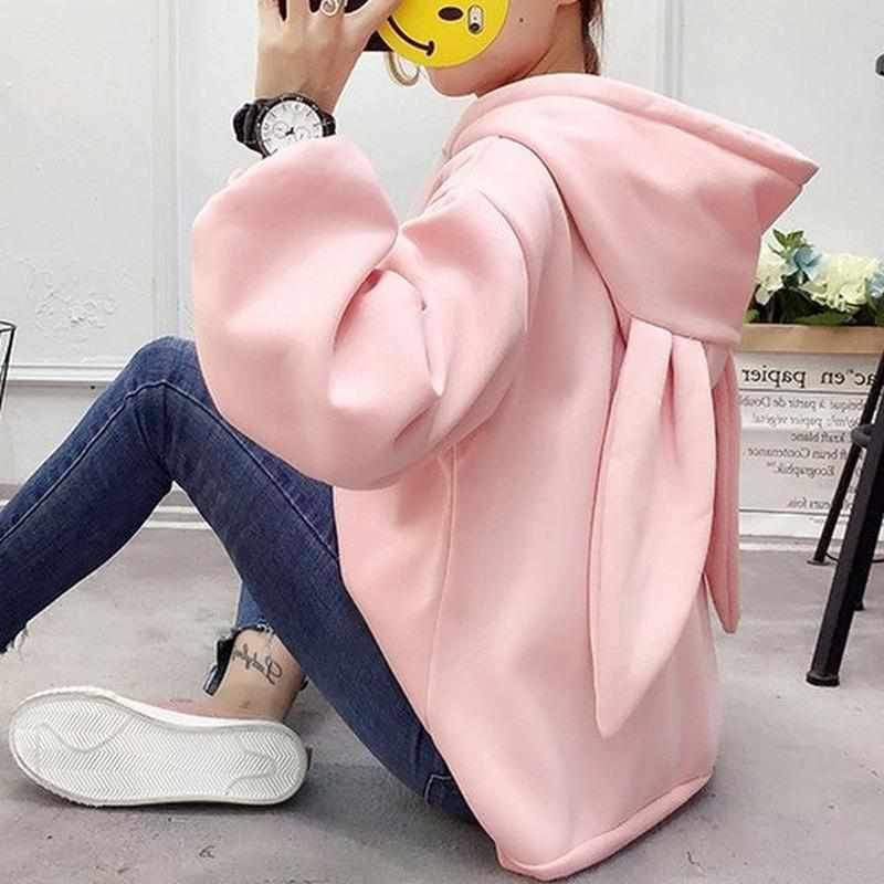 KOREAN STREET FASHION SWEET BUNNY WITH LONG EARS HOODIE