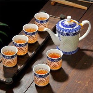 Ling Long Porcelain Hollowed Honeycomb Tea Set