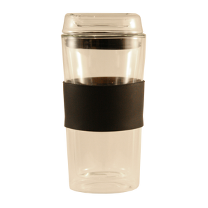 Consol Travel Tumbler Double Walled Glass and Glass Lid 300ml
