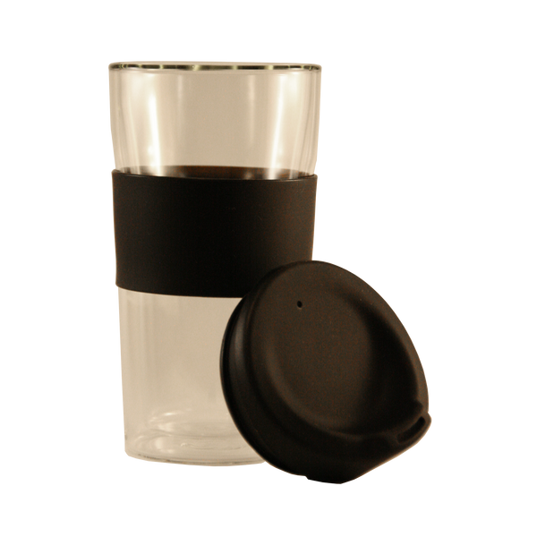 Consol Travel Tumbler Double Walled Glass and Rubber Lid 300ml