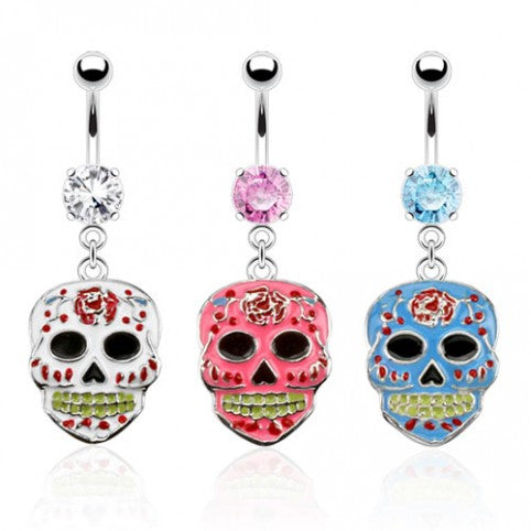 ::SALE:: Surgical Steel Navel Ring Sugar Skull Epoxy Dangle