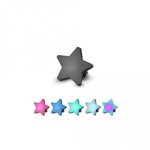 Surgical Steel Titanium Ion Plated Dermal Top Flat Star