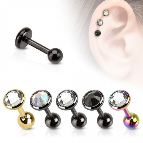 Surgical Steel Ion Plated Tragus Stud with Gem Top