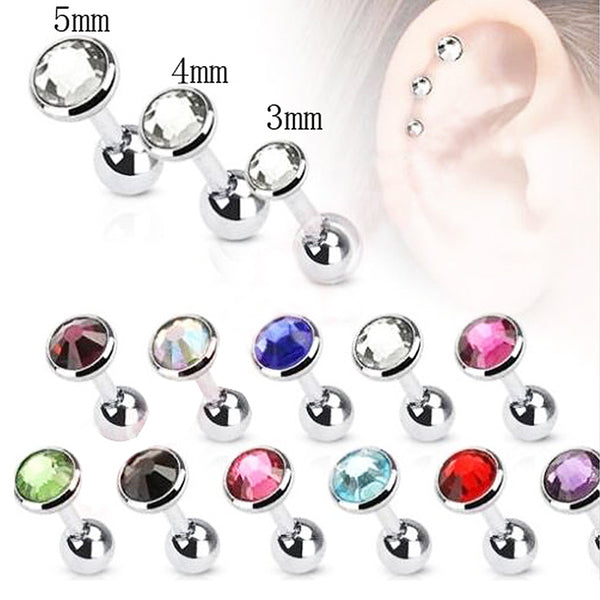 Surgical Steel Tragus Stud with Round Press Fit Gem
