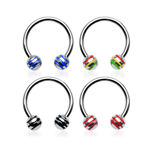 Surgical Steel Circular Barbell with Striped Balls