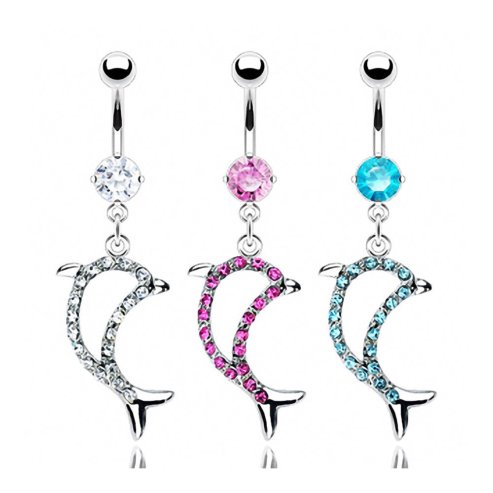 Surgical Steel Navel Ring Multi Gem Paved Dolphin Dangle