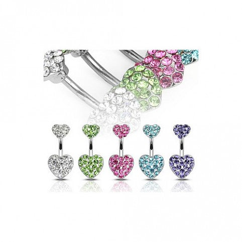 Surgical Steel Navel Ring Gem Paved Heart