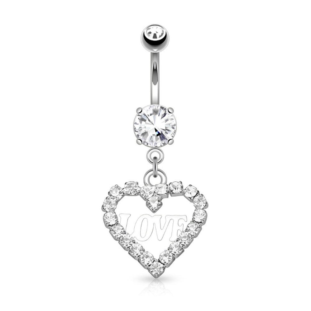 Crystal Paved Hollow Heart with Love Dangle