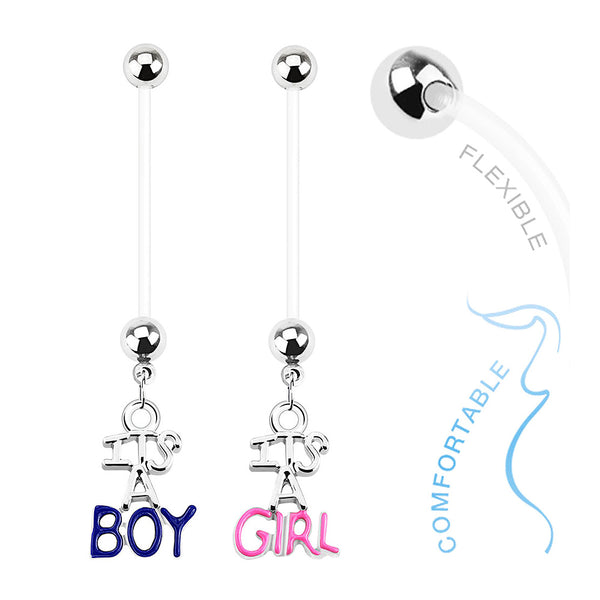 Bio-Flex Pregnancy Navel Ring Gender Reveal Dangle