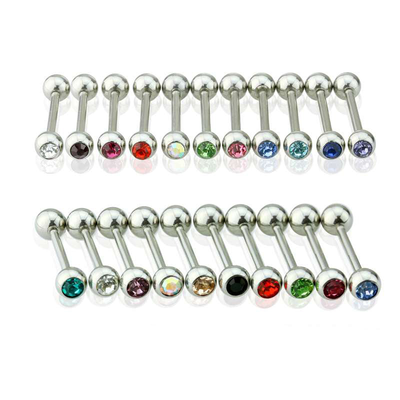 Surgical Steel Straight Barbells with Press Fit Gem