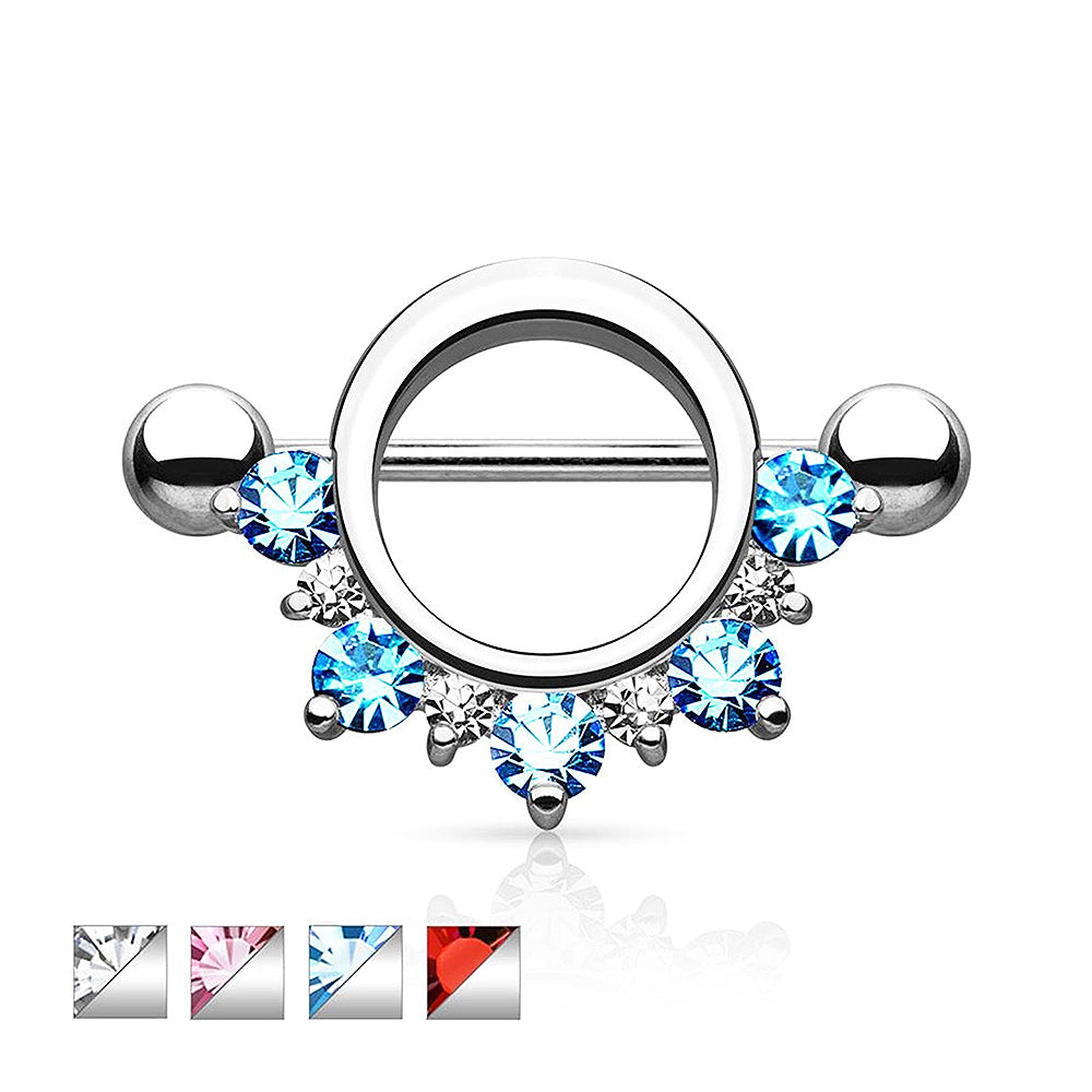 Surgical Steel Nipple Shield Cubic Zirconia Lined Half Circle
