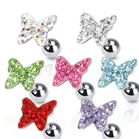 Surgical Steel Tragus Stud with Multi Paved Gem Butterfly Top