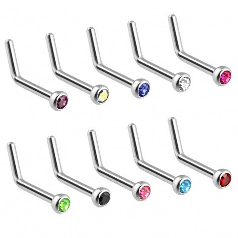 Surgical Steel L-Shape Nose Bar with Press Fit Gem