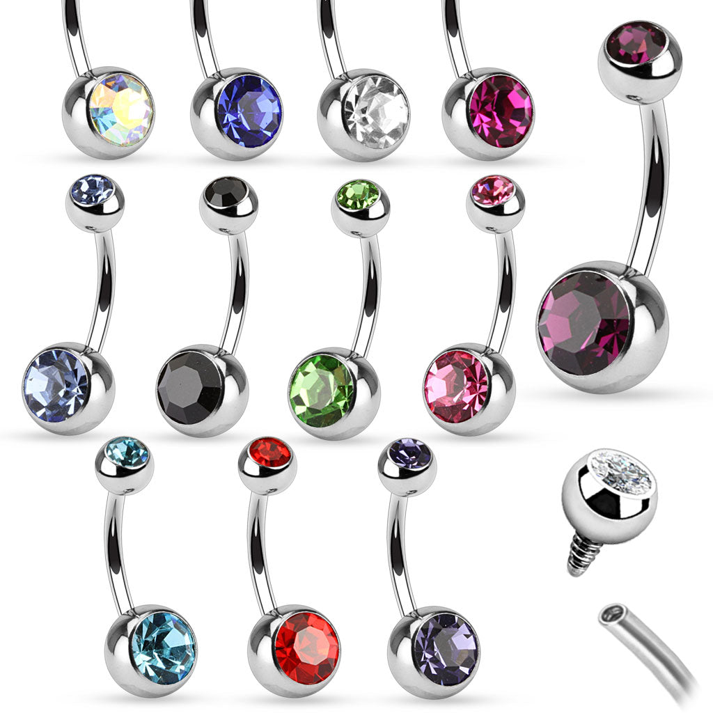 ::SALE:: Surgical Steel Internally Threaded Navel Ring with Gem Fit Ball