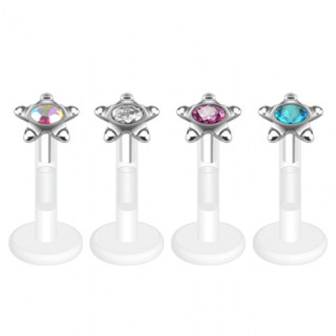 Bio-Flex Labret Star Stud Press Fit Gem