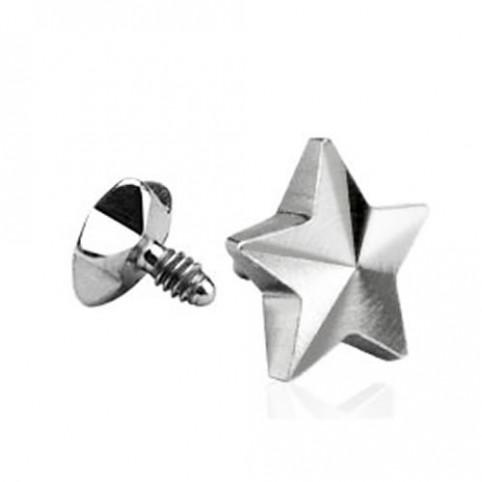 Surgical Steel Dermal Top Flat Star