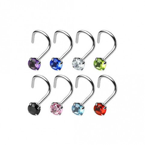 Surgical Steel Nose Screw Prong Set Cubic Zirconia Gem