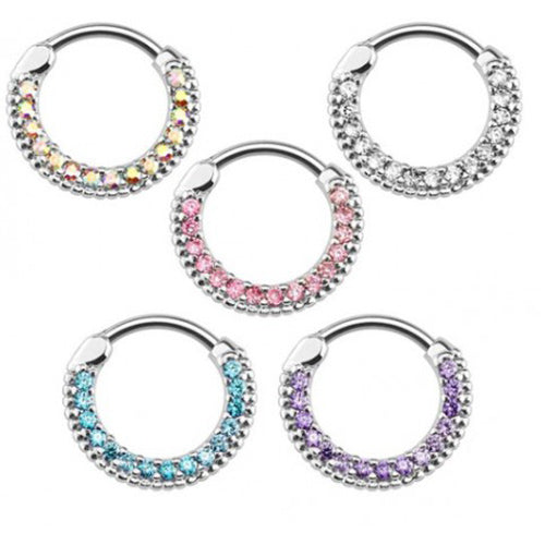 ::SALE:: Surgical Steel Septum Clicker Ring with Round Paved Gems
