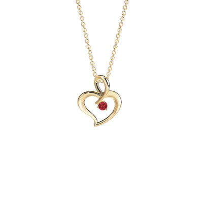 heart necklace with birthstone in the center in yellow gold