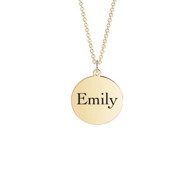 Disc Necklace with Name Engraving