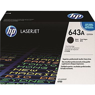 HP 643A (Q5950A) Color LaserJet 4700 Black Original LaserJet Toner Cartridge (11000 Yield)