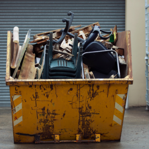 dispose of fence panels in a skip