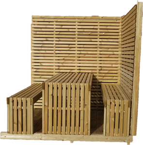Corner Tempo Table & Bench Kit - www.contemporarygarden.co.uk