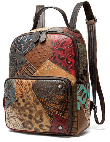 BATIK Women's Vintage Backpack - Genuine Cow Leather