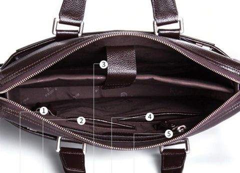 BONAN Document Bag Leather - Interior View - The Store Bags