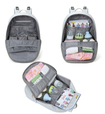 Black Diaper Backpack With Insulated Bottle Pockets