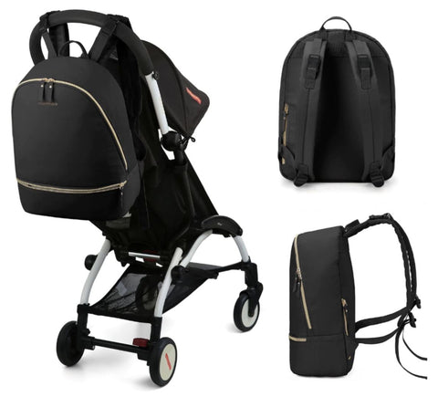Black Diaper Backpack With Strolley Straps
