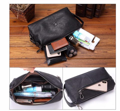 Georg Men's Leather Toiletry Bag - Large Capacity