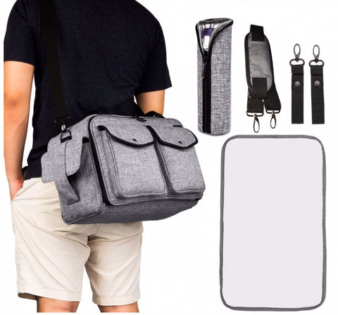 JYJY Messenger Diaper Bag For Dads - Changing Pad
