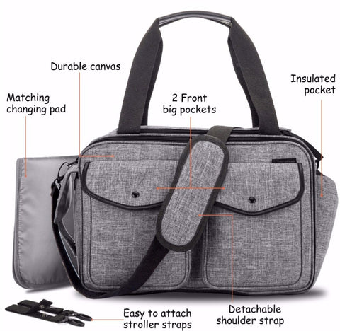 JYJY Messenger Diaper Bag For Dads - Durable Canvas