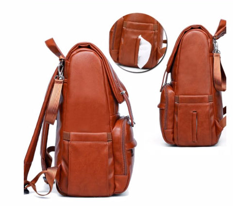 JYJY PU Leather Diaper Bag - Easy Access Pockets