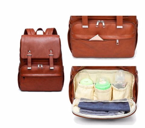 JYJY PU Leather Diaper Bag - Insulated Front Pockets