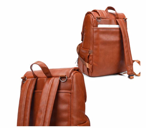 JYJY PU Leather Diaper Bag - Laptop compartment