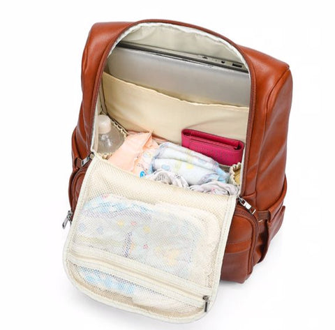 JYJY PU Leather Diaper Bag - Large Capacity