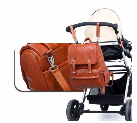 JYJY PU Leather Diaper Bag - Trolley Clips