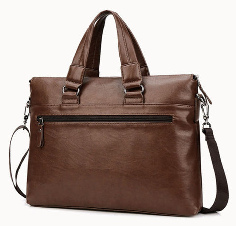 LEINASEN Men's Leather Computer Briefcase - Back View - The Store Bags