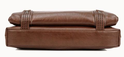 LEINASEN Men's Leather Computer Briefcase - Bottom View - The Store Bags